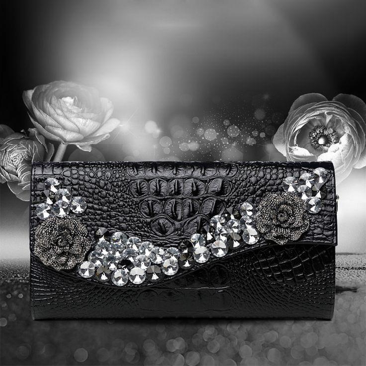 Diamonds Crocodile pattern rhinestones evening bags clutch evening bags shoulder bag wedding Day Clutches Handbags Chain Purse