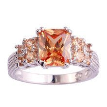 lingmei Wholesale Cocktail Rings Emerald Cut Morganite Silver Ring Size 10 Fashion Women Men Jewelry For Party Free Shipping