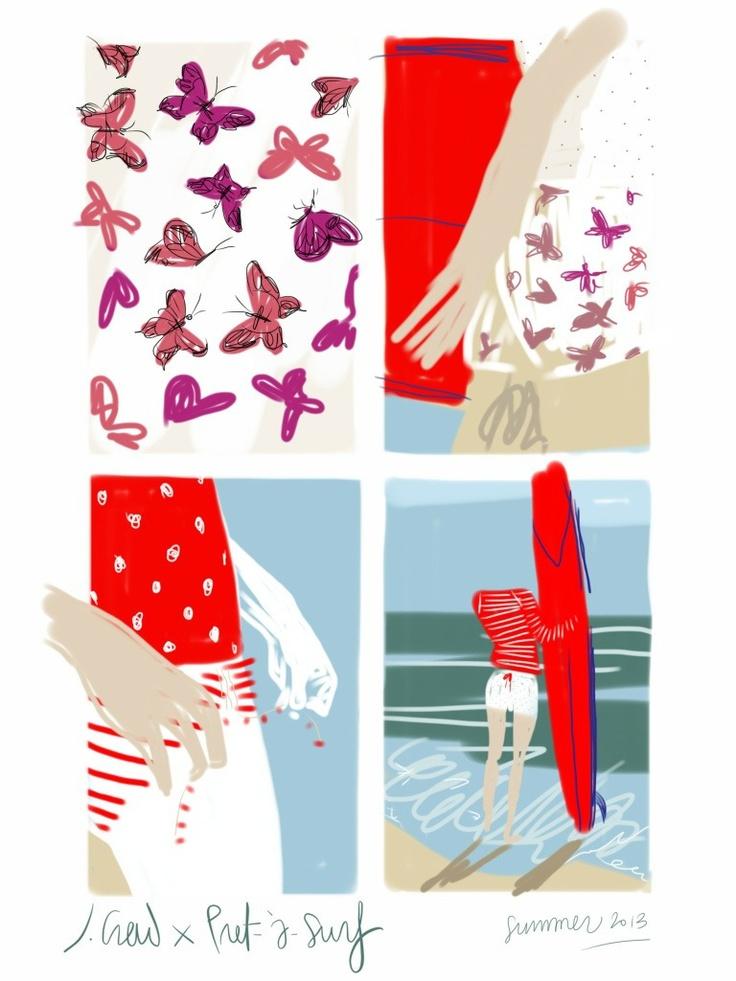 J.Crew x Pret-à-Surf swimwear collection 2013.   Open Toe, fashion illustrated - Opentoeillustration.com