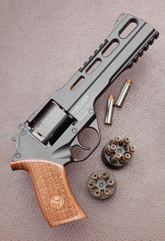 Chiappa Rhino .357. Shoots through bottom cylinder, reduces muzzle flip.