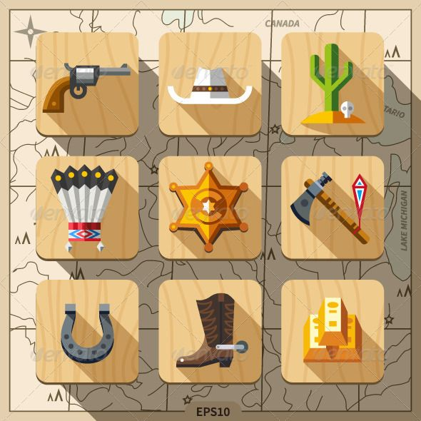 Cowboys and Wild West Icons ...  american, ax, badge, boot, cactus, conquest, cowboy, culture, fire, gold, gun, hat, horse, horseshoe, icon, indians, map, riding, rodeo, sheriff, spurs, star, symbol, texas, tomahawk, vector, war, west, western, wild