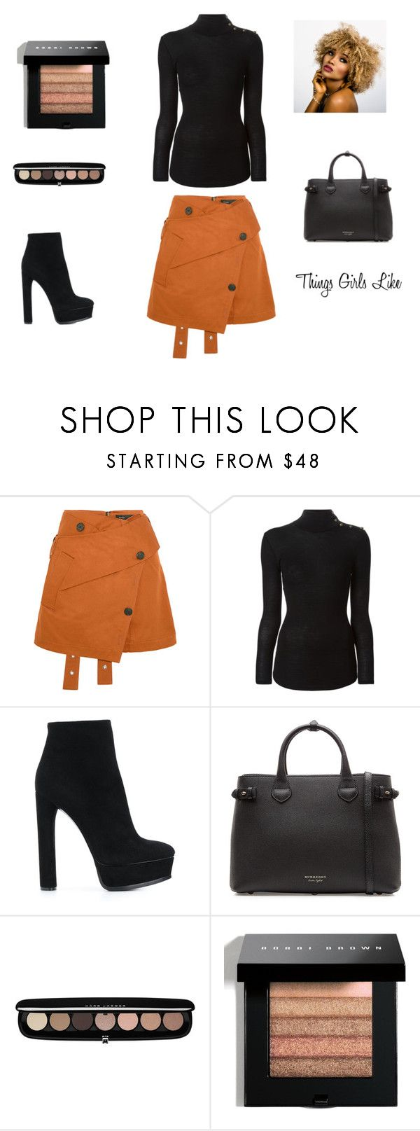 """""""COTTON TWILL MINI SKIRT"""" by elva-espinal ❤ liked on Polyvore featuring Proenza Schouler, Balmain, Casadei, Burberry, Marc Jacobs and Bobbi Brown Cosmetics"""