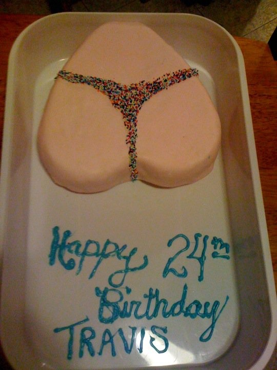 """Made my boyfriend a """"butt birthday cake"""" (its made from a heart shape cake pan, turned upside down)"""