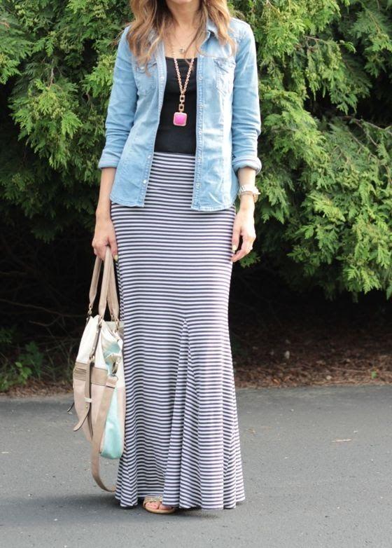 Maxi skirt, tank, open chambray shirt, pendant necklace