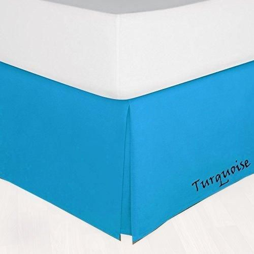Turquoise Bed Skirt Solid Comfy Sateen Turquoise Bedding