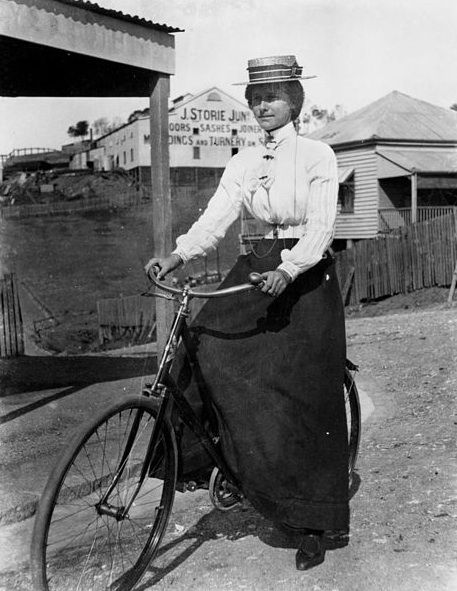 Woman cycling in Brisbane, 1890-1900. (John Oxley Library, State Library of Queensland)