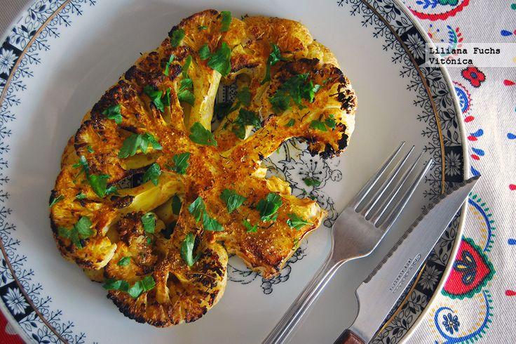 Receta saludable de filetes de coliflor al horno. Con fotos del paso a paso, consejos y sugerencias de degustación. Receta ligera. Recetas vegetarianas sanas
