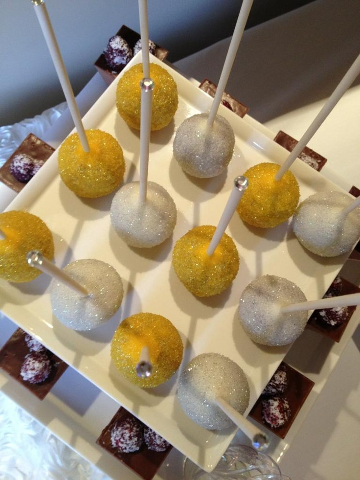 cake pop ideas wedding shower%0A Yellow and White Cake pops