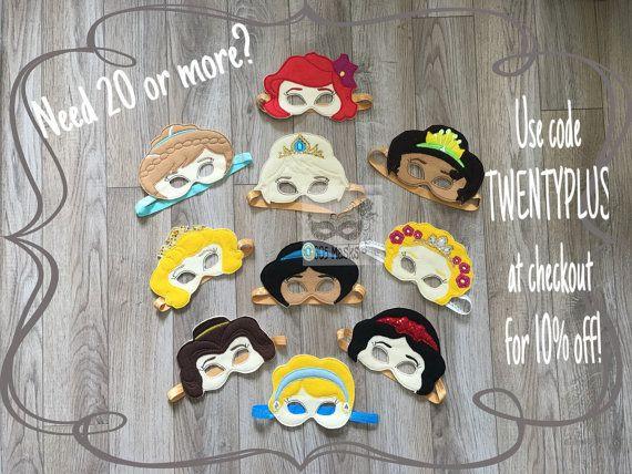 Etsy - Masques de princesse, masque de princesse, Cendrillon, Anna, Elsa, Rapunzel, neige blanc, Aurora, Belle, Jasmine, petite sirène, Tiana, masque de fête