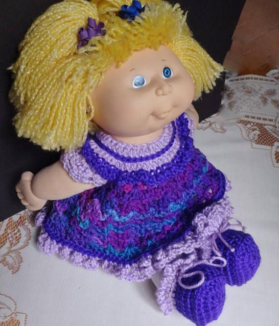 Crochet outfit Cabbage Patch Kids 16 inch baby doll Dress