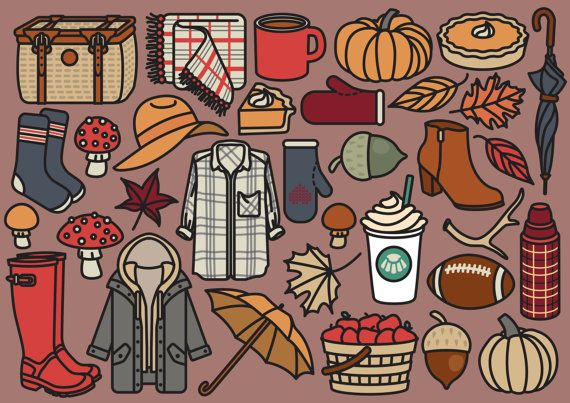 Premium Vector Clipart  Cute Autumn Clipart  Kawaii Fall