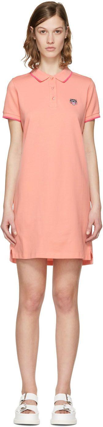 KENZO Pink Tiger Crest Polo Dress. #kenzo #cloth #dress
