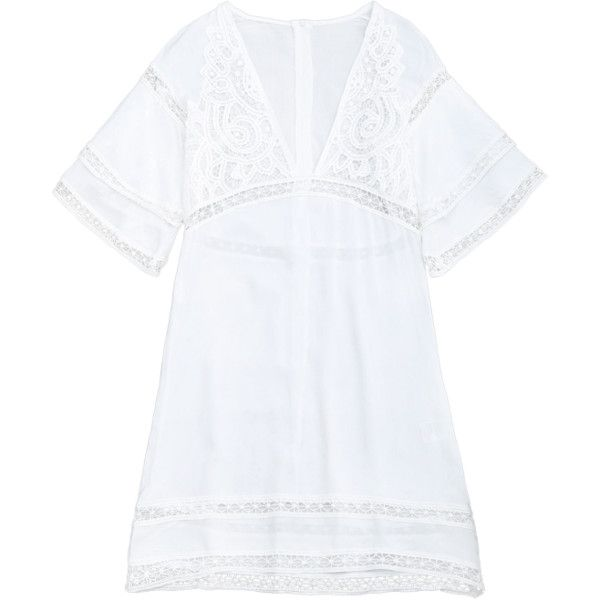 Crochet Plunge Beach Kaftan Cover Up White ($26) ❤ liked on Polyvore featuring swimwear, cover-ups, beach caftan, beach kaftan, white caftan, white kaftan and white beach kaftan
