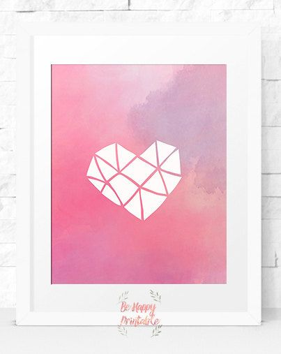 Love watercolour Instant download Illustration prints Home Decor Print Printable Decor Pink wall art Nursery Tribal Printable Art love shape