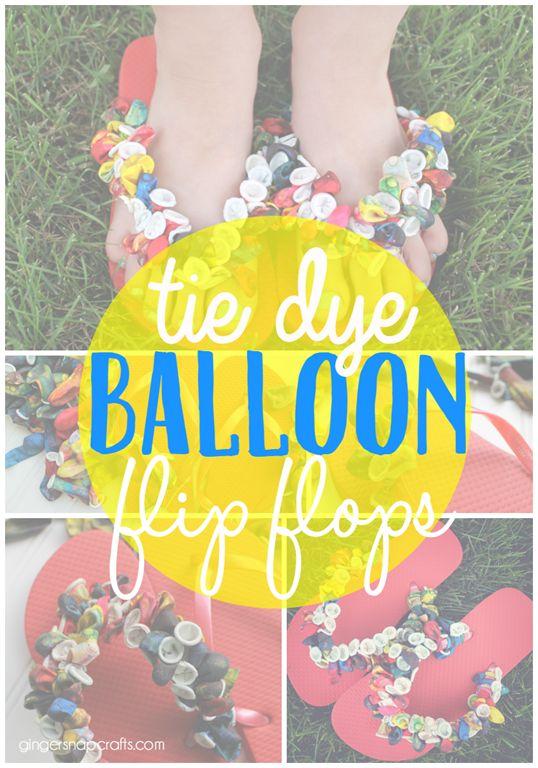 tie dye balloon flip flops at GingerSnapCrafts.com #crafts #kids #kidscraft