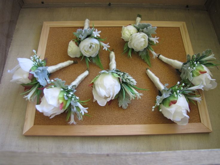 Peony bud buttonholes silk flowers white faux flower buttonholes