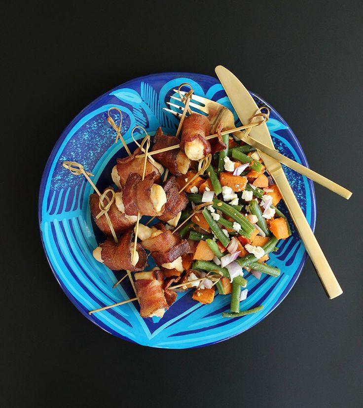 45 Minutes Meals | Bacon Wrapped Chicken Bites + Veggie Feta Salad | Gluten Free | Kid-Friendly | 1 Pan Salad Recipe