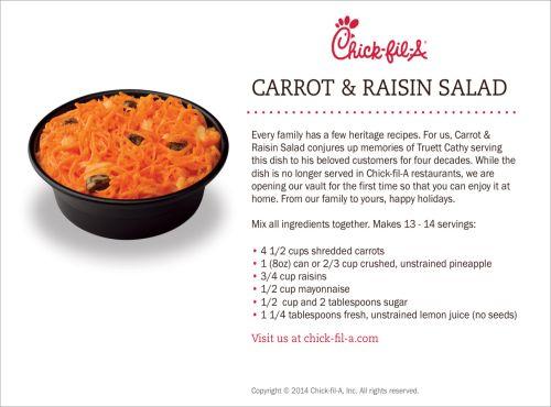 Inside Chick-fil-A - Chick-fil-A Original Southern Recipe: Carrot & Raisin Salad