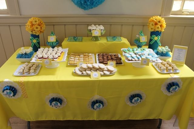 blue and yellow baby shower party ideas