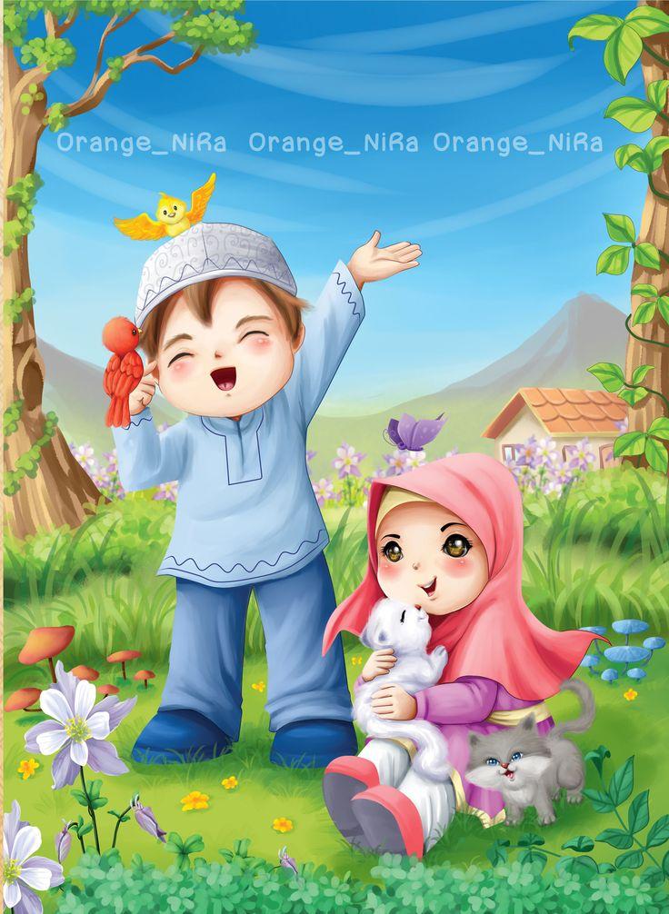 Children illustration moslem kids Kartun, Ilustrator