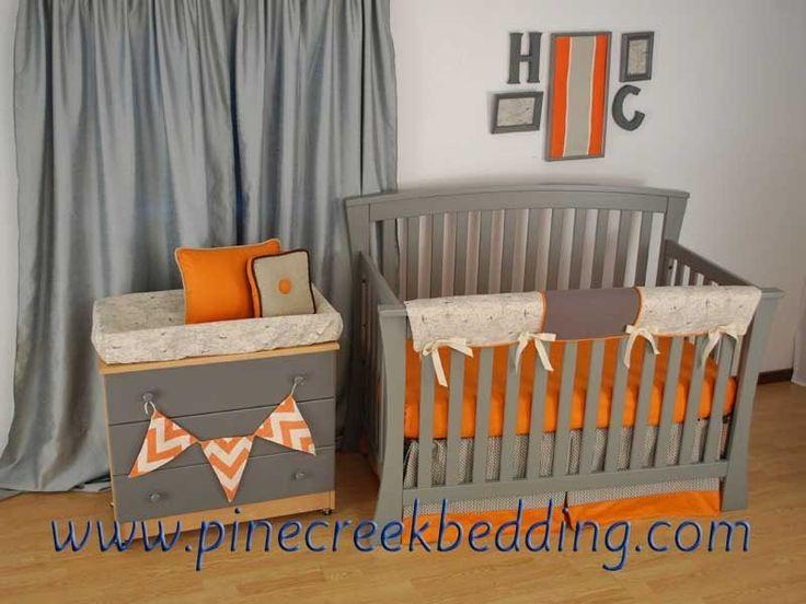 Orange and grey crib bedding with a world map print fabric for World crib bedding