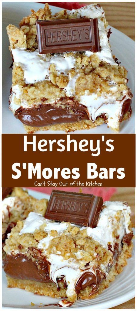 Hershey's S'Mores Bars   Can't Stay Out of the Kitchen   these outrageous #brownies are one of the most sensational, decadent #desserts you'll ever eat! We gorge ourselves on these! #chocolate #marshmallowcreme #Hershey'schocolatebars