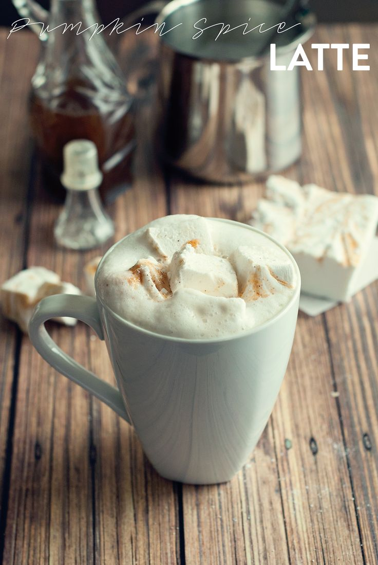 Pumpkin Spice Latte with Pumpkin Spice Marshmallows by Three in Three ...