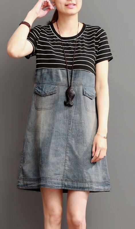 Blaues kurzes Sommerdenimkleid-Streifenpatchwork – OmyChic-Linen Dress