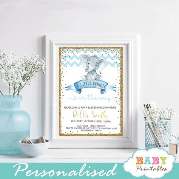 Sprinkle the mom to be with these charming elephant baby sprinkle invitations boy. The little peanut baby sprinkle invitations feature an adorable baby boy elephant sitting on top of a vintage ribbon banner against a white backdrop framed in faux gold glitter with blue chevron pattern. #babyshowerinvitations #babyshowerideas4u #babysprinkle #babysprinkleinvite