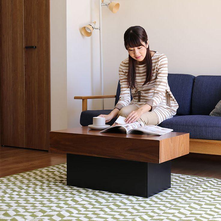 ウッド ローテーブル アーブル ソファと組み合わせての使用イメージ