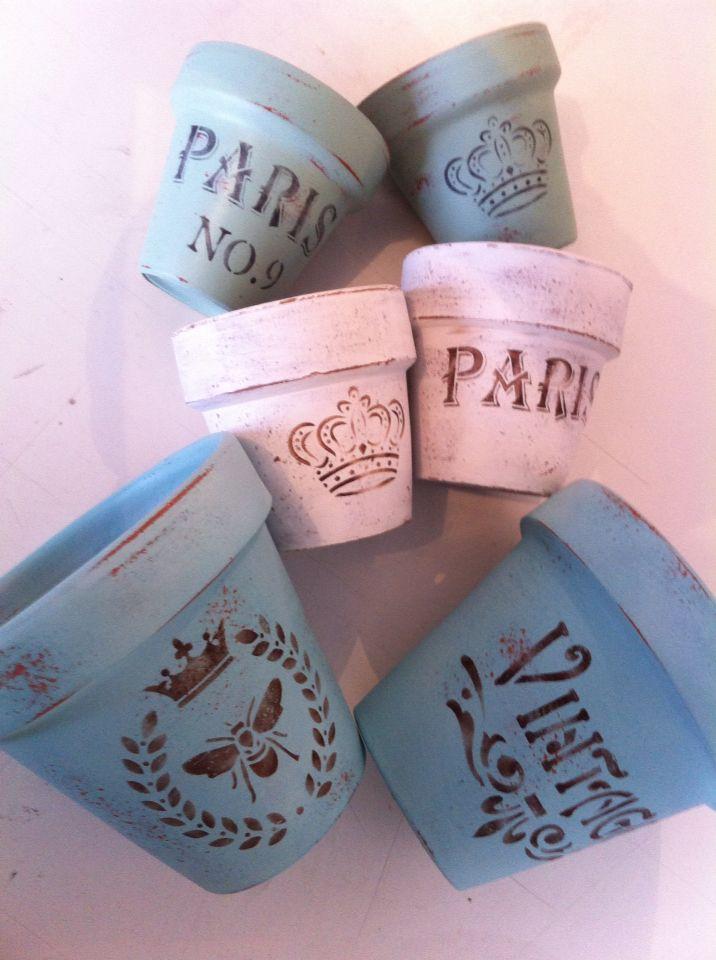 Macetas de terracota pintadas con acr lico desgastadas y - Macetas de terracota ...
