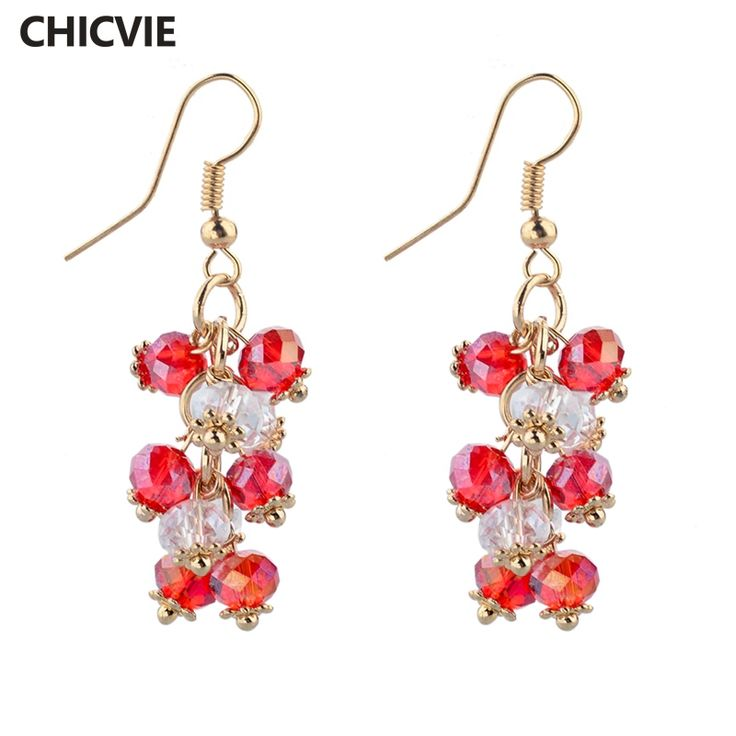 CHICVIE Gold Color Big Statement Earrings With Stones For Women Crystal Bead Earrings Fashion Jewelry Red Ethnic Pendientes #Affiliate