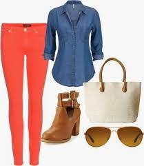Resultado de imagen para combinar pantalon coral mujer