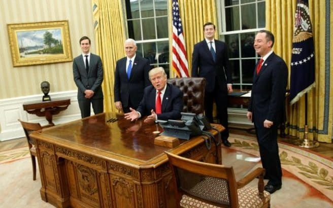 The ANGLOPHOBE OBAMA HAS GONE!!!! #The Churchill bust is present alongside Donald Trump, senior advisor Jared Kushner (standing, L-R), vice president Mike Pence, staff secretary Rob Porter and chief of staff Reince Priebus