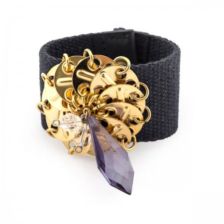 Bangle Bracelet in fabric with chain and studs arranged in a flower and oversized resin stone, with leather stripes hand sewed and trimmed.