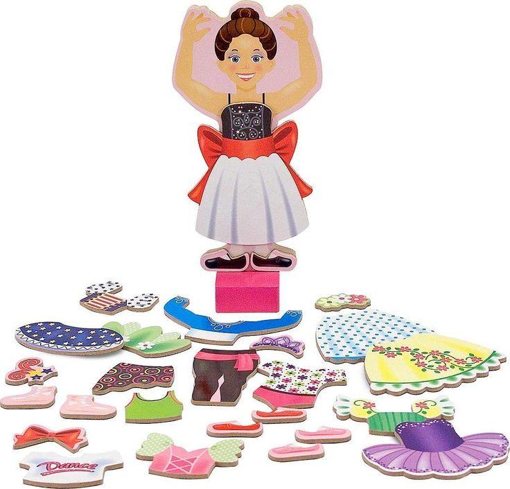 Amazon.com: Nina Ballerina - Magnetic Dress Up Wooden Doll & Stand + FREE Melissa & Doug Scratch Art Mini-Pad Bundle [35545]: Toys & Games
