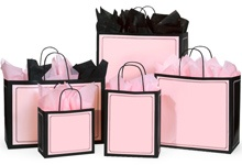 Retail Shopping Bags - Duets Pink & Black - Made in America - USA