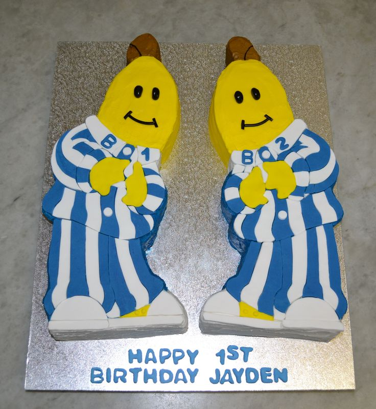 Bananas in Pyjamas - Red Velvet Cake with BC and Fondant Accents