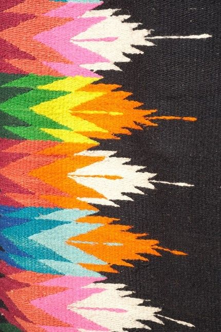 detail of vintage zapotec rug--pretty nursery colors