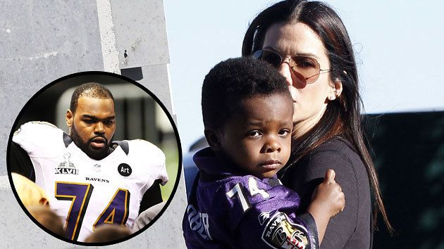 Bullock attends the Super Bowl with her son Louis, inset is of Michael Oher (Photo: FameFlynet/Getty Images)