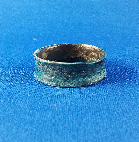 Copper ring band anticlastic blue patina