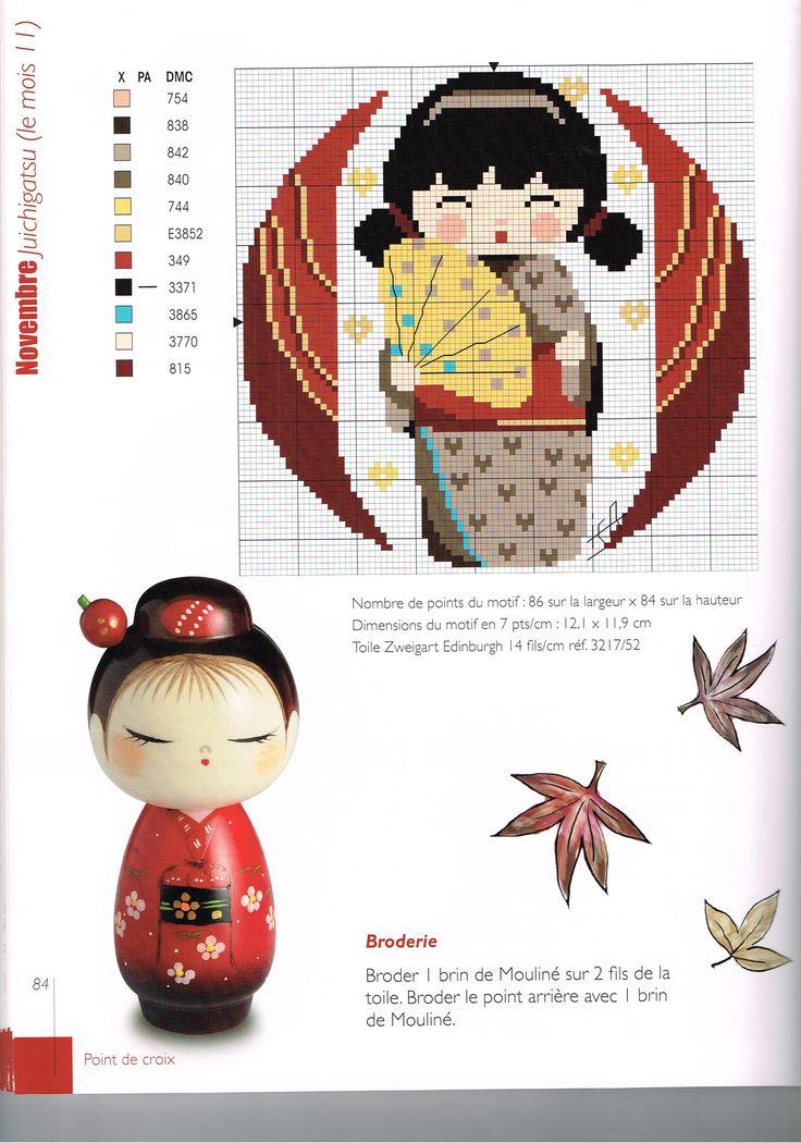 French Kokeshi Cross Stitch Pattern For November grille fête du mois de novembre 2/2