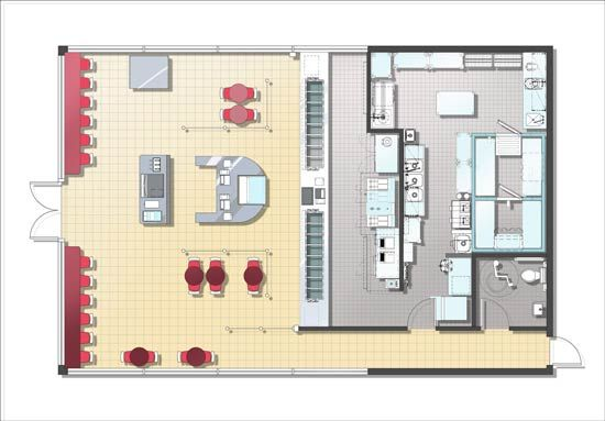 Fast food restaurant floor plan by restaurant consultants for How to create a restaurant floor plan