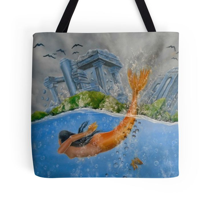 Tote Bag,   mermaid,aqua,blue,cool,beautiful,unique,trendy,artistic,unusual,accessories,for sale,design,items,products,ideas,redbubble