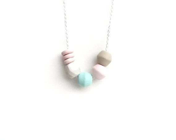 SELENE pastel geometric polymer clay necklace/ long by CloudPearls, €18.00