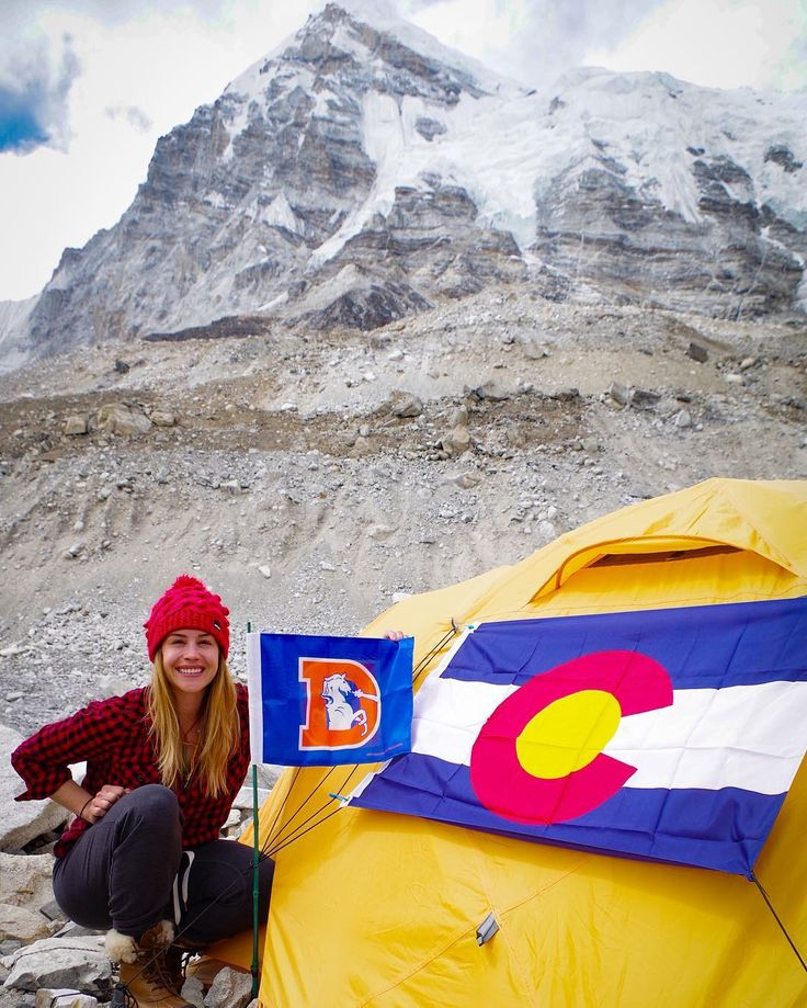 Basecamp has been established and I'm happy to report the flags are flying high from my tent at 17500ft! Welcome to Nepal Colorado and the Denver Broncos!  2016/2017 season tickets? The new blog is up: http://www.kimhessclimbs.com/an-uninvited-guest/  #Colorado #coloradogirl #everest2016 #liveauthentically #basecamp #nepal #wanderlust #girltribe #findyourwings #football #superbowlchamps || @broncos || @shejumps || @bigagnes_ || @honeystinger || @westoneaudio || by kimmyhess…