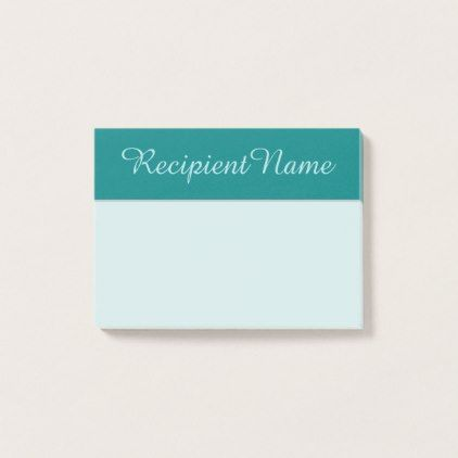 Teal Background and Powder Blue Script-Like Name Post-it Notes - minimalist office gifts personalize office cyo custom