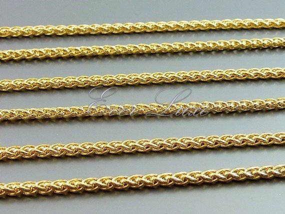 19803b9b9 1 foot shiny gold wheat chain, ideal for men and women jewelry or  accessories, woven link rope chain