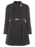 Womens Petite Charcoal Belted Wrap Coat- Grey
