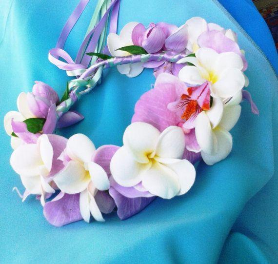 BRIDAL FLOWER CROWN Hawaiian White Plumeria and by MalamaPua